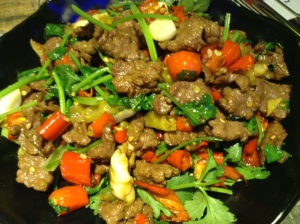 Home again: Hunan beef.