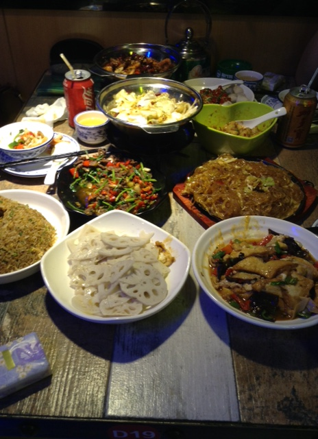 Dinner at a Hunan-style restaurant in Guangzhou.